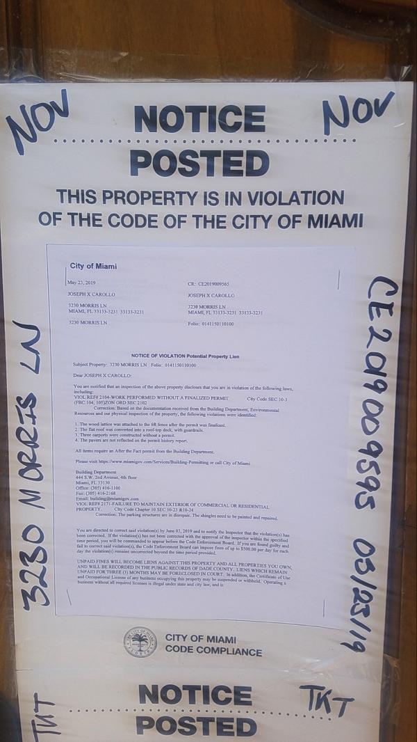 May 23rd - Copies Of Carollo Code Violations